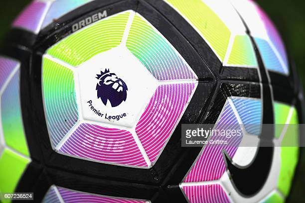 Close up of the preimer leauge logo on the preimer leauge ball during the Premier League match between Leicester City and Burnley at The King Power...