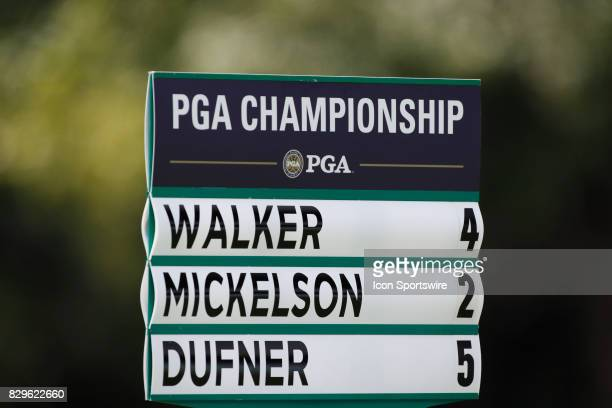 A close up of the scoring sign for Mickelson Walker and Dufner seen on the 7th hole during the first round of the PGA Championship on August 10 2017...