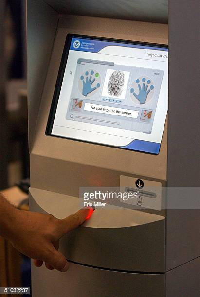 Close up of the screen on the Registered Traveler Verification Kiosk demonstrated by members of the Transportation Security Administration at the...