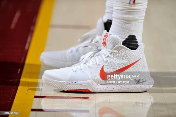 Close up of the shoes of Kyrie Irving of the Cleveland Cavaliers during a break in the action against the Detroit Pistons on March 14 2017 at Quicken...