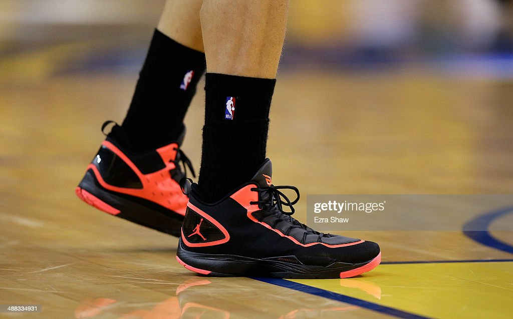 A close up of the shoes worn by Blake Griffin #32 of the Los Angeles Clippers during their game against the Golden State Warriors in Game Six of the Western Conference Quarterfinals during the 2014 NBA Playoffs at ORACLE Arena on May 1, 2014 in Oakland, California.