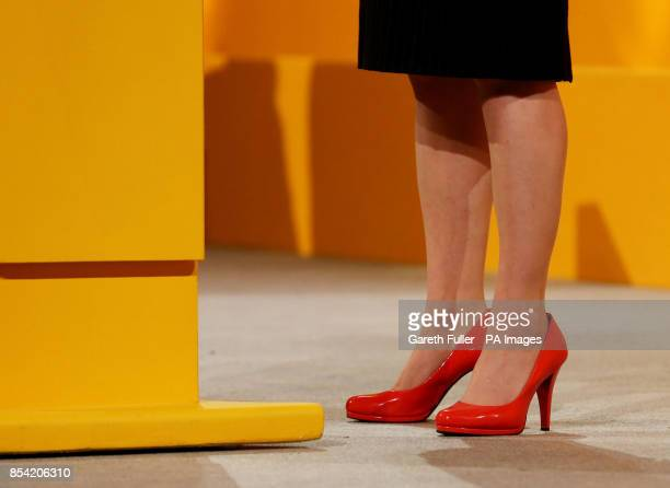 Close up of the shoes worn by Jo Swinson Under Secretary of State for Employment Relations as she delivers her speech during the Liberal Democrat's...