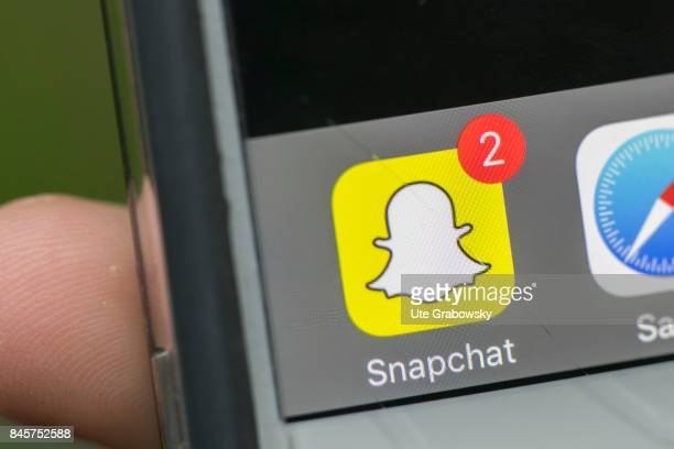 Close up of the Snapchat symbol on a smartphone on August 10 2017 in Duelmen Germany