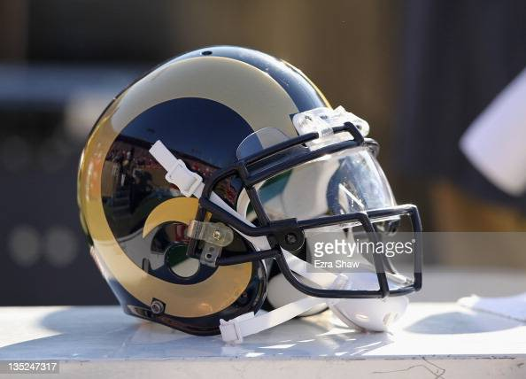A close up of the St Louis Rams helmet at Candlestick Park on December 4 2011 in San Francisco California