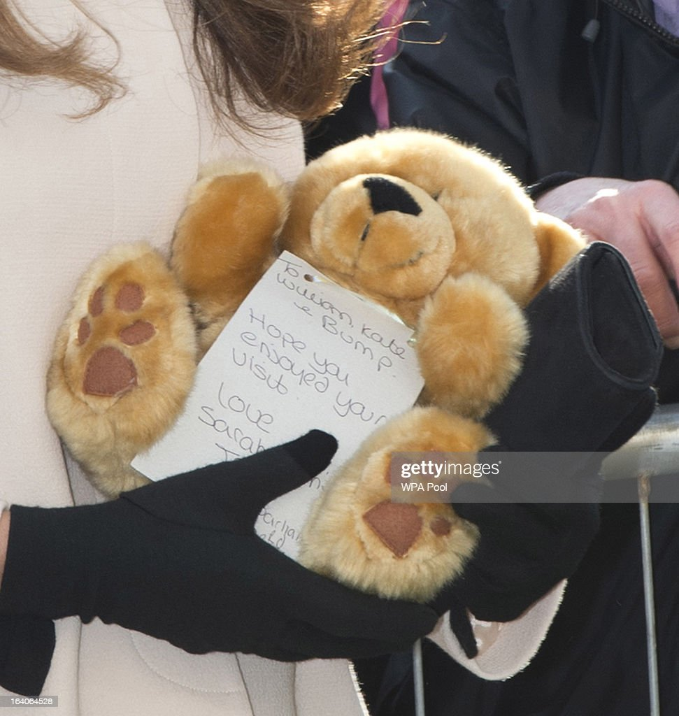 A close up of the teddy bear that <a gi-track='captionPersonalityLinkClicked' href=/galleries/search?phrase=Catherine+-+Duchess+of+Cambridge&family=editorial&specificpeople=542588 ng-click='$event.stopPropagation()'>Catherine</a>, Duchess of Cambridge received on her visit to the offices of Child Bereavement UK on March 19, 2013 in Saunderton, Buckinghamshire.