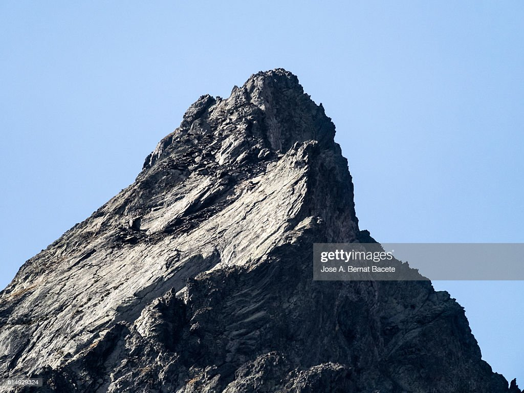 Close up of the top of a mountain of metamorphic rock over 3000 meters : Stock Photo