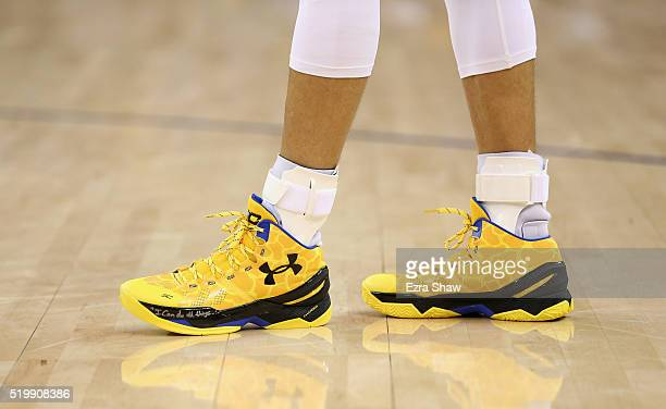 A close up of the Under Armour shoes worn by Stephen Curry of the Golden State Warriors during their game against the Minnesota Timberwolves at...