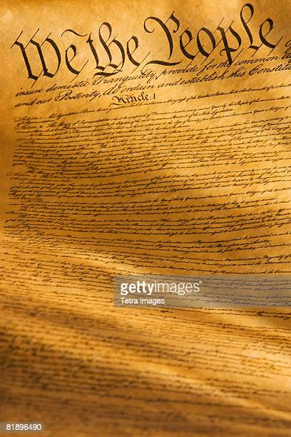 Close up of the United States Constitution