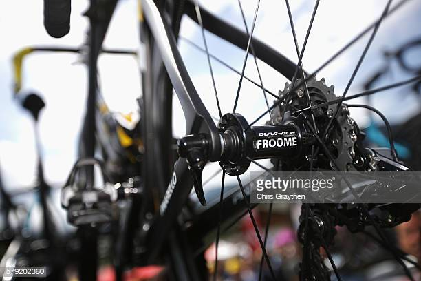 A close up of the wheel of Chris Froome of Great Britain and Team Sky during stage twenty of the 2016 Le Tour de France from Megeve to Morzine on...