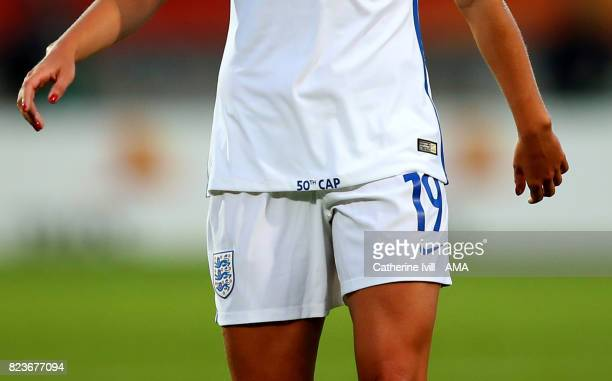 Close up of the words 50th cap printed on the shirt of Toni Duggan of England Women during the UEFA Women's Euro 2017 match between Portugal and...