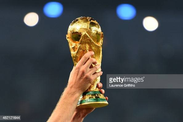 A close up of the World Cup trophy after the 2014 FIFA World Cup Brazil Final match between Germany and Argentina at Maracana on July 13 2014 in Rio...