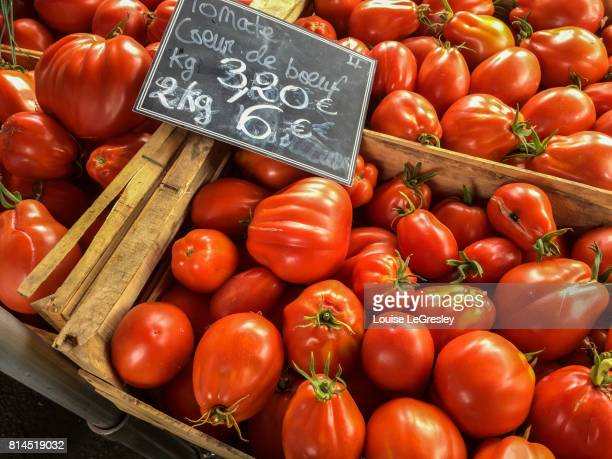 Close up of tomatoes at local French market
