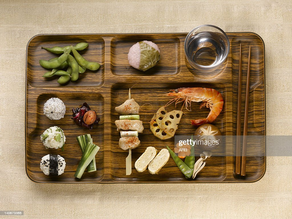 Close up of tray of food