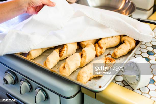 Close up of tray of homemade bread rolls