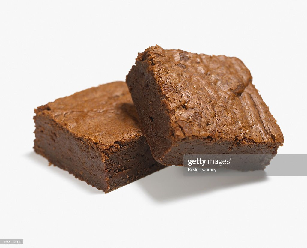 Close up of two chocolate brownies : Stock Photo