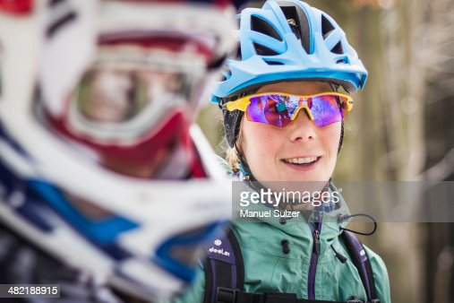 Close up of two female mountain bikers