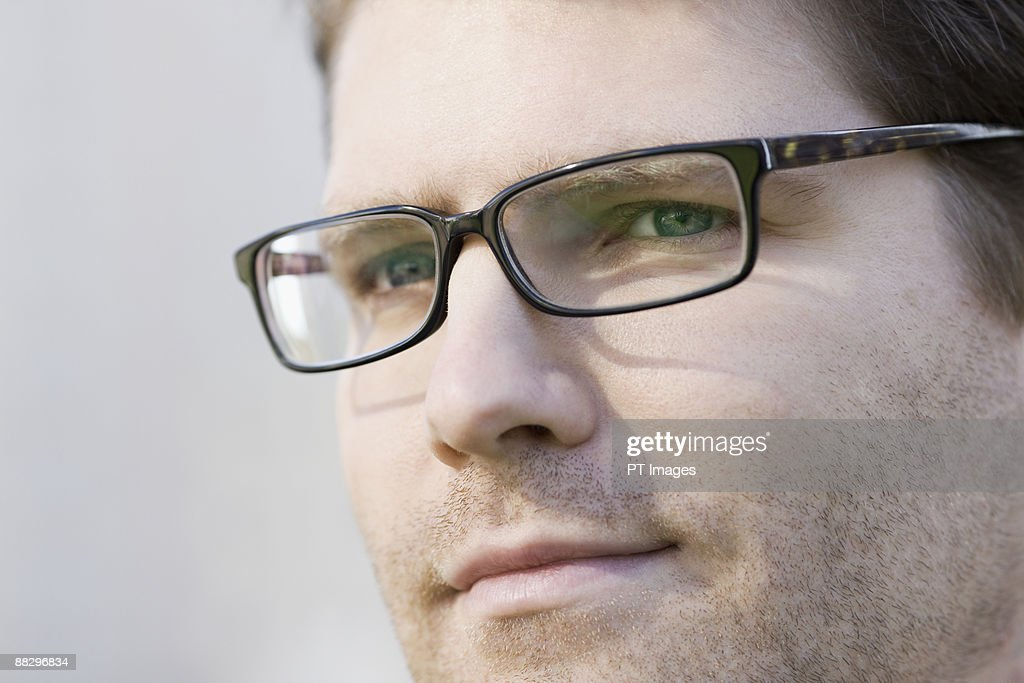 Close up of unshaven businessman : Stock Photo