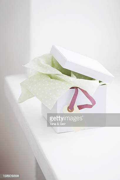 Close up of unwrapped gift box