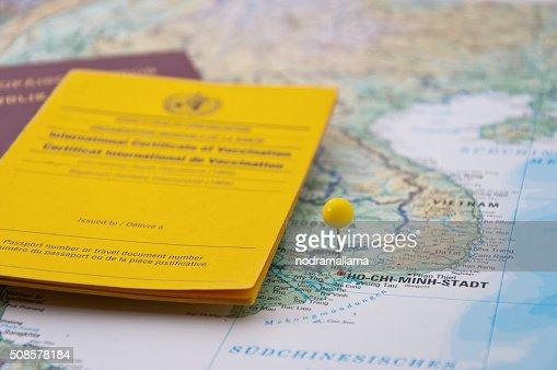 Close Up of Vaccination Certificate, Passport, Ho Chi Minh Pin : Bildbanksbilder