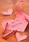 Close up of Valentine's card, studio shot