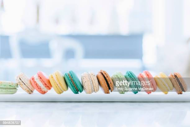 Close up of variety of macaroon cookies