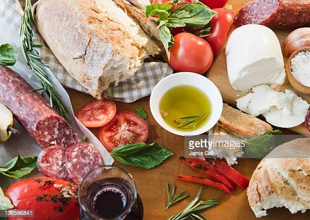 Close up of various italian food