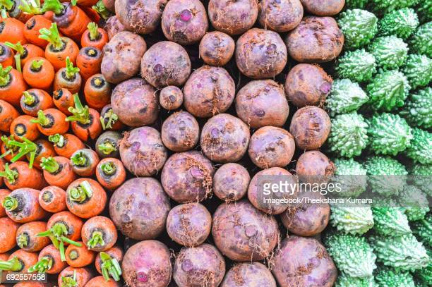 Close up of vegetables for sale at market