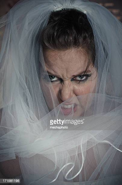 Close up of Very Angry and Stressed Out Bride
