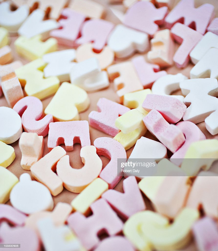 Close up of vibrant candy alphabet : Stock Photo