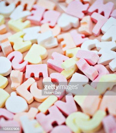 Close up of vibrant candy alphabet