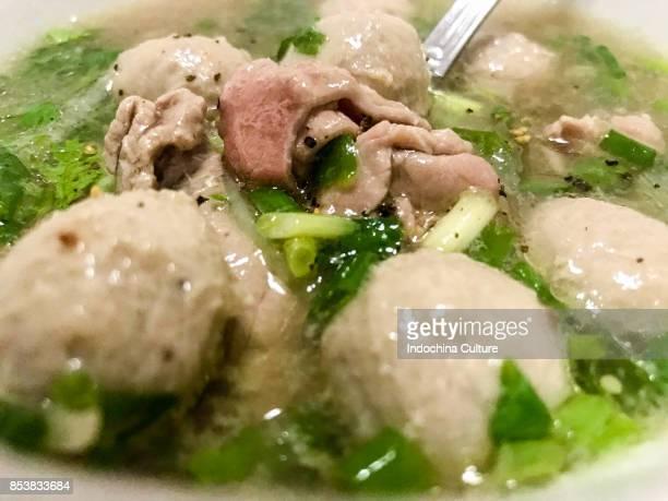 Close up of Vietnamese Vietnam Pho Bo beef noodle soup