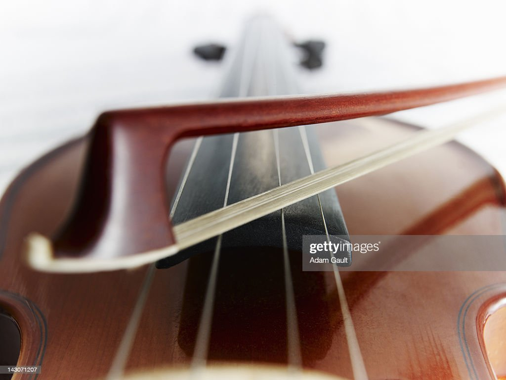 Close up of violin and bow