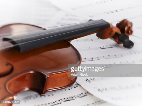Close up of violin and sheet music : Stock Photo