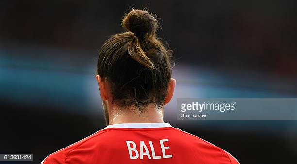 A close up of Wales player Gareth Bale's man bun hair style during the FIFA 2018 World Cup Qualifier between Wales and Georgia at Cardiff City...