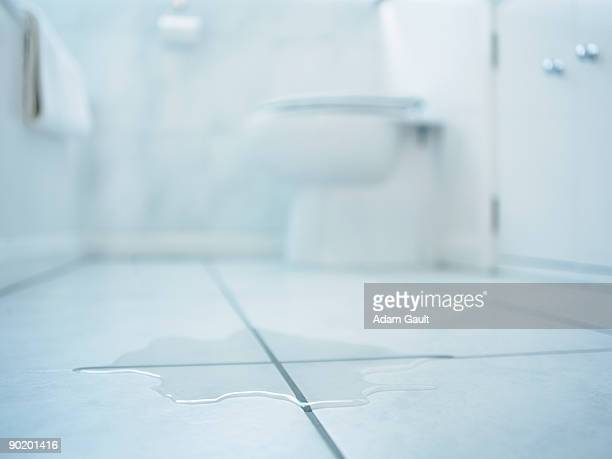 Close up of water spill in bathroom