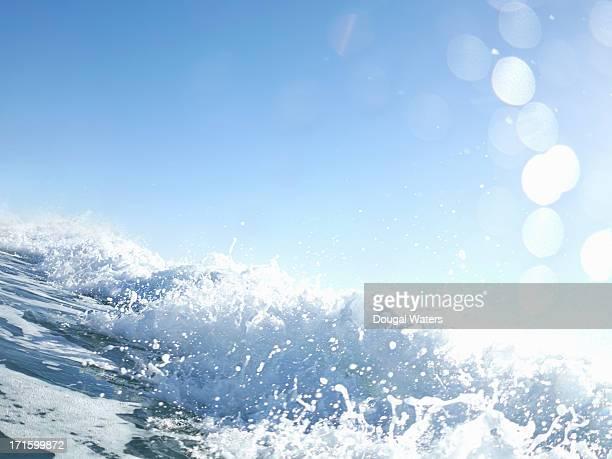Close up of waves crashing in sea