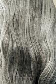 Close up of wavy, long, silver gray hair.