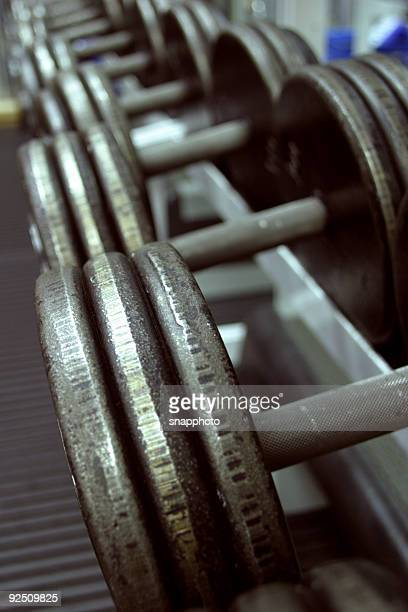 Close up of weights in the gym