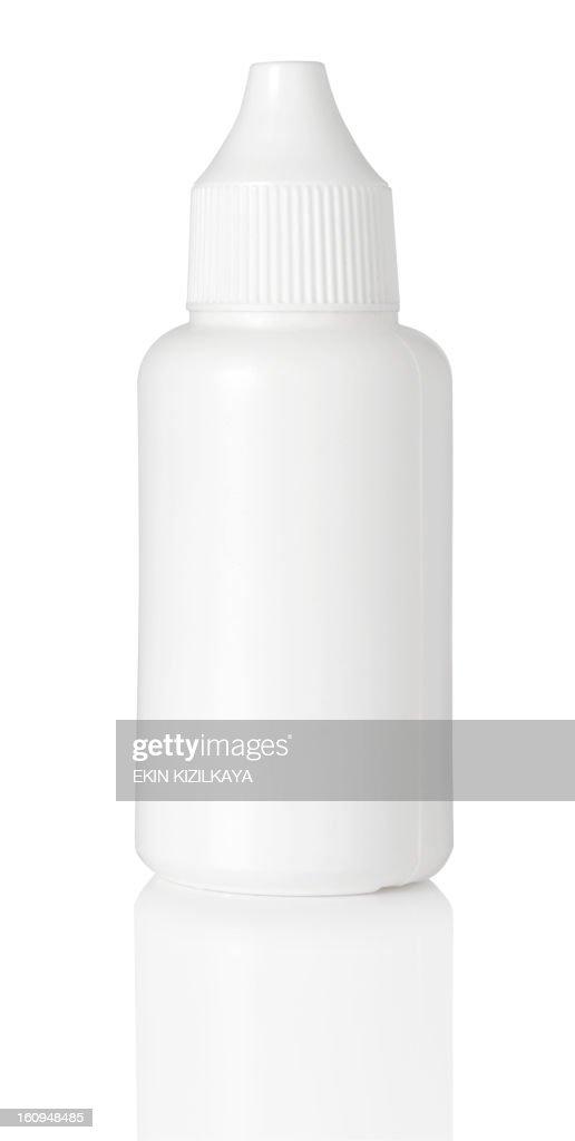 close up of white plastic bottle