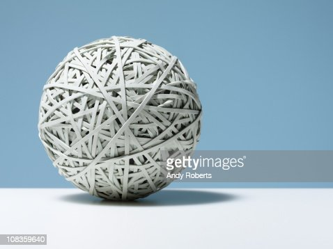 Close up of white rubber band ball : Stock Photo