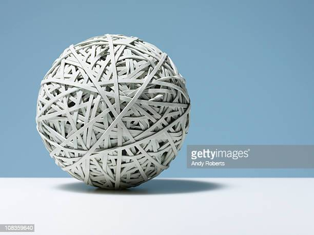 Close up of white rubber band ball