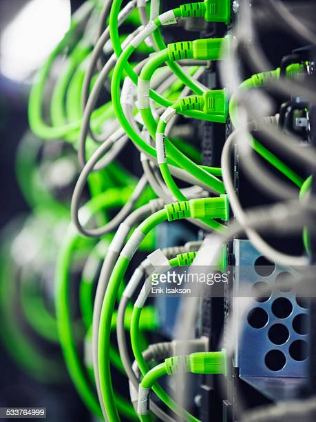 Close up of wires on computer server