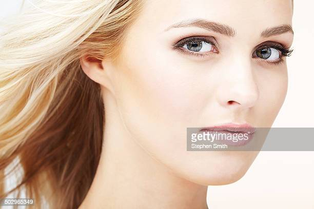 Close up of woman hair blowing in wind