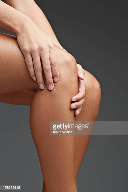 Close up of woman having knee pain