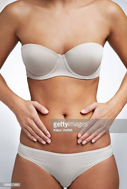 Close up of woman having stomach pain