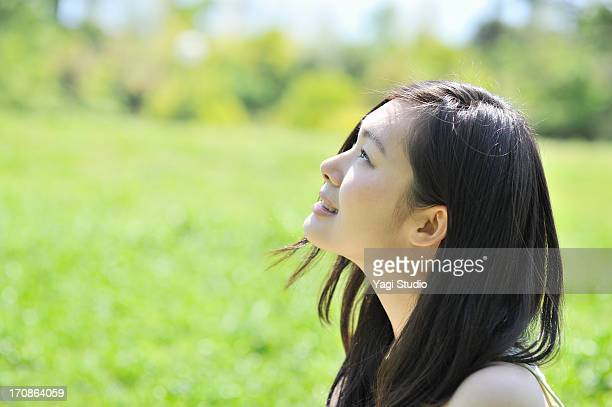 Close up of woman in nature