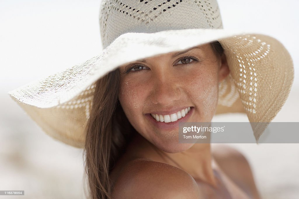 Close up of woman in sun hat : Stock Photo