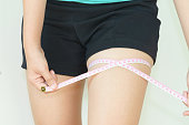Close up of woman is measuring her thigh with measuring tape - fat concept