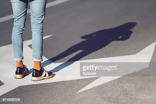 close up of woman shoes standing on the street : Stock Photo