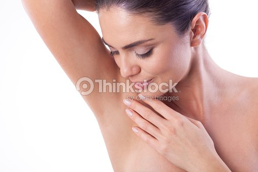 Close up of woman showing her armpit. : Stock Photo